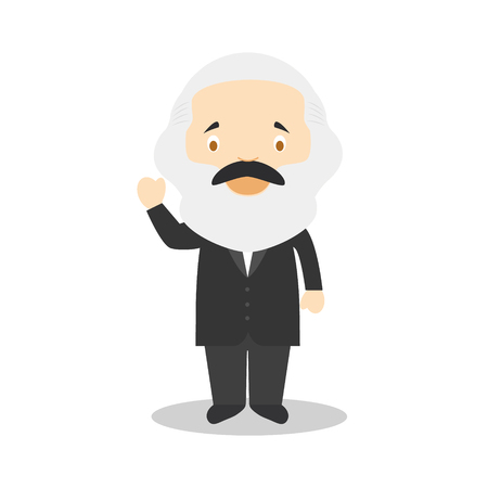 Personaggio dei cartoni animati di Karl Marx. Illustrazione vettoriale Collezione di storia per bambini. Archivio Fotografico - 97413346