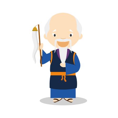 Lao Tse cartoon character. Vector Illustration. Kids History Collection.