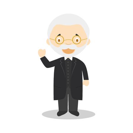 Personnage de dessin animé de Miguel de Unamuno. Illustration vectorielle. Collection d'histoire des enfants. Banque d'images - 97413348