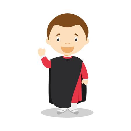 Nicola Machiavelli cartoon character. Vector Illustration. Kids History Collection.