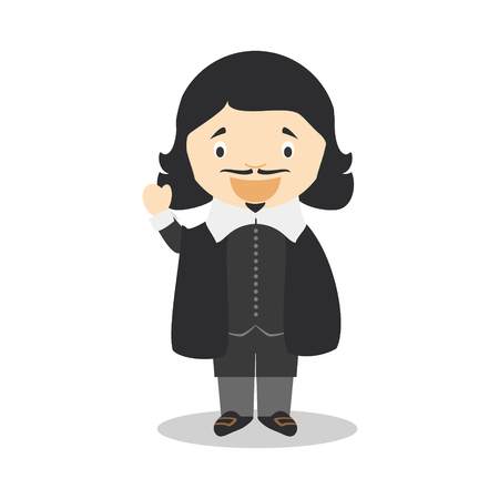 Rene Descartes cartoon character. Vector Illustration. Kids History Collection.