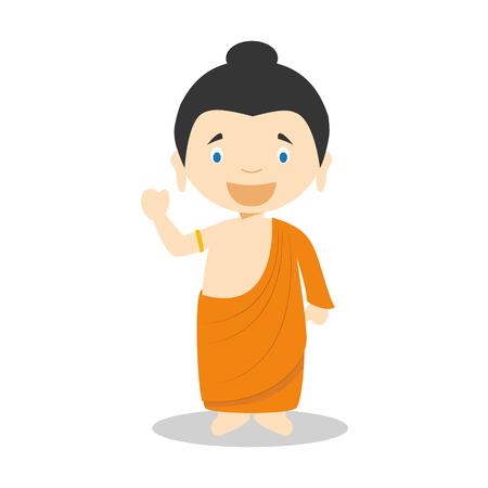 Siddhartha Gautama cartoon character. Vector Illustration. Kids History Collection. 向量圖像