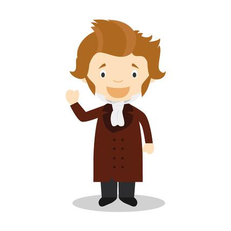 Soren Kierkegaard cartoon character. Vector Illustration. Kids History Collection.