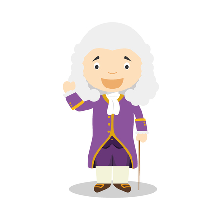 Voltaire cartoon character. Vector Illustration. Kids History Collection