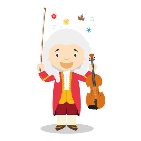 Personaje de dibujos animados de Antonio Vivaldi. Ilustración vectorial Colección de historia para niños. Ilustración de vector