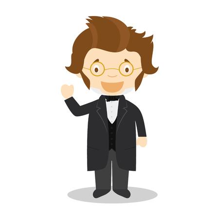 Franz Schubert cartoon character. Vector Illustration. Kids History Collection.  イラスト・ベクター素材