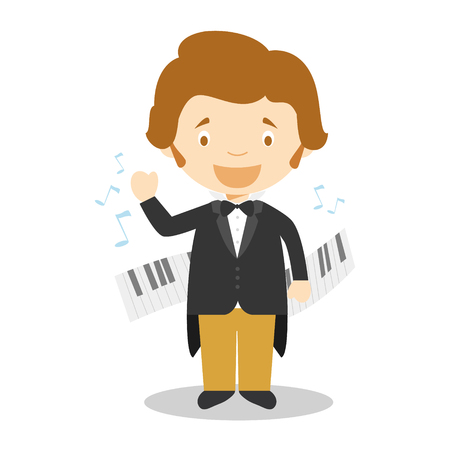 Frédéric Chopin cartoon character. Vector Illustration. Kids History Collection. Illustration