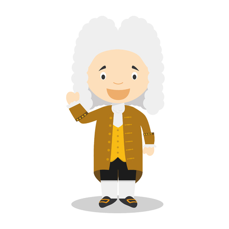 Georg Friedrich Händel cartoon character. Vector Illustration. Kids History Collection.  イラスト・ベクター素材