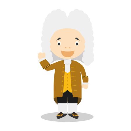 Personaje de dibujos animados de Georg Friedrich Händel. Ilustración vectorial Colección de historia para niños. Ilustración de vector