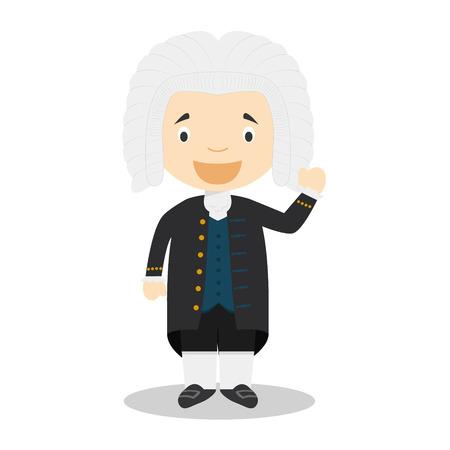 Johan Sebastian Bach cartoon character. Vector Illustration. Kids History Collection.
