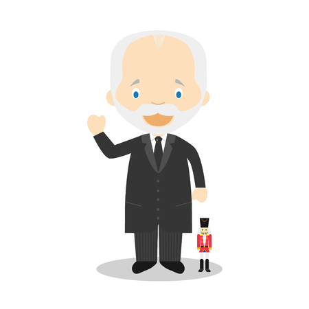 Piotr Ilich Tchaikovsky cartoon character. Vector Illustration. Kids History Collection.