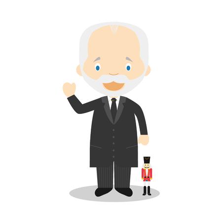 Piotr Ilich Tchaikovsky cartoon character. Vector Illustration. Kids History Collection.