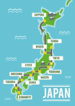 Cartoon vector map of Japan. Travel illustration with japanese main cities. Illustration