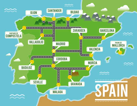 Cartoon vector map of Spain. Travel illustration with spanish main cities.