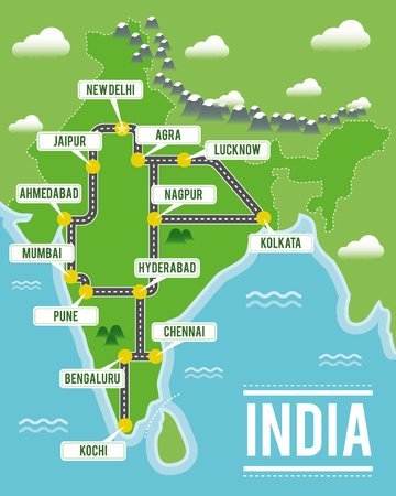 Cartoon vector map of India. Travel illustration with indian main cities. Illustration