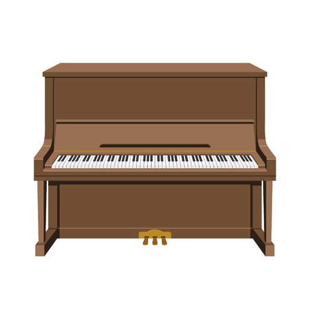 Vector illustration of an upright piano in cartoon style isolated on white background