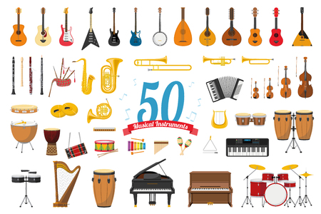 Vector illustration set of 50 musical instruments in cartoon style isolated on white background Иллюстрация