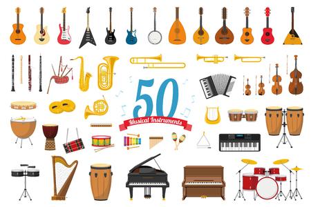 Vektorillustrationssatz von 50 Musikinstrumenten im Karikaturstil lokalisiert auf weißem Hintergrund