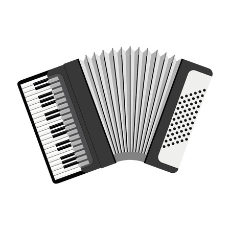 Vector illustration of an accordion in cartoon style isolated on white background