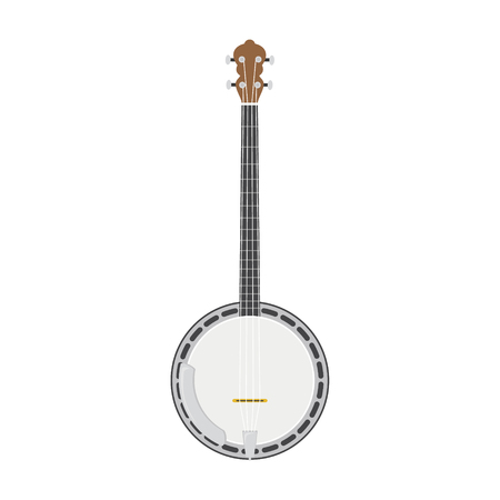 Vector illustration of a banjo in cartoon style isolated on white background