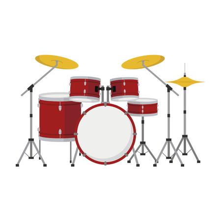 Drum set in cartoon style isolated on white background vector illustration.