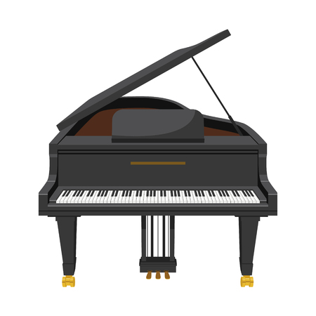 Grand piano in cartoon style isolated on white background vector illustration. Illustration