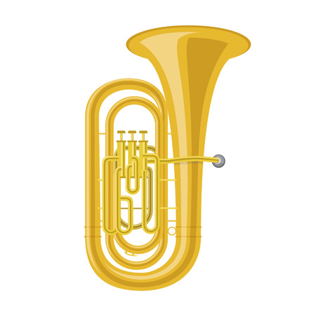 Tuba in cartoon style isolated on white background vector illustration.