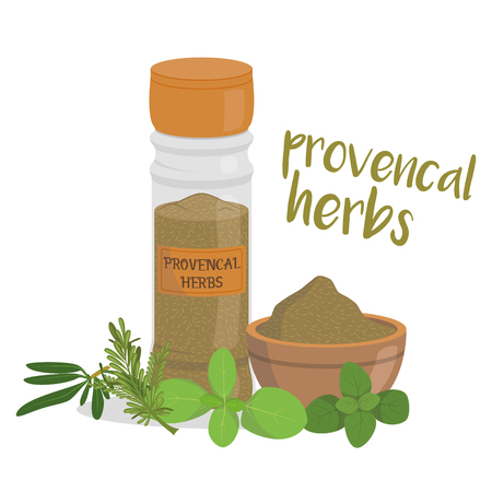 Vector provencal herbs illustration isolated in cartoon style. Herbs and Species Series