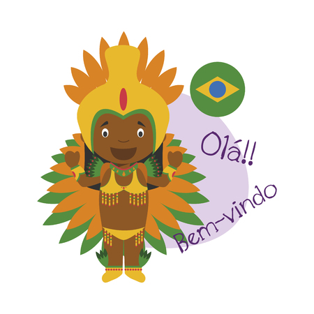 illustration of cartoon character saying hello and welcome in Brazilian  イラスト・ベクター素材