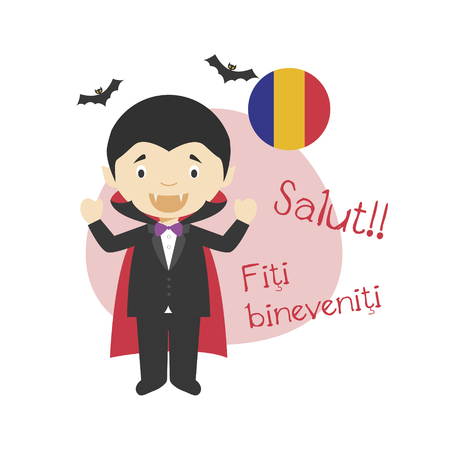 Vector illustration of cartoon character saying hello and welcome in Romanian