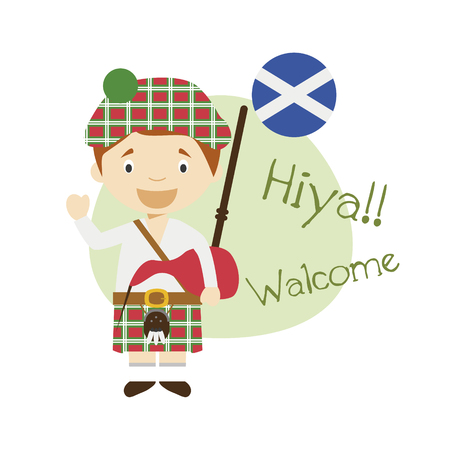 Vector illustration of cartoon character saying hello and welcome in Scottish