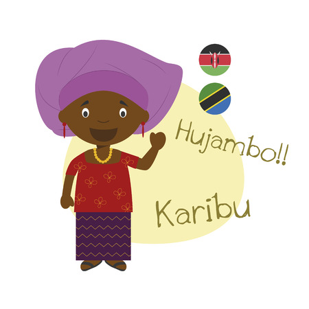 illustration of cartoon character saying hello and welcome in Swahili
