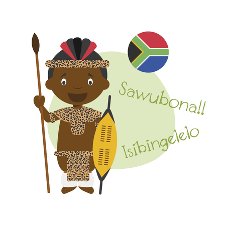 Vector illustration of cartoon character saying hello and welcome in Zulu Ilustração