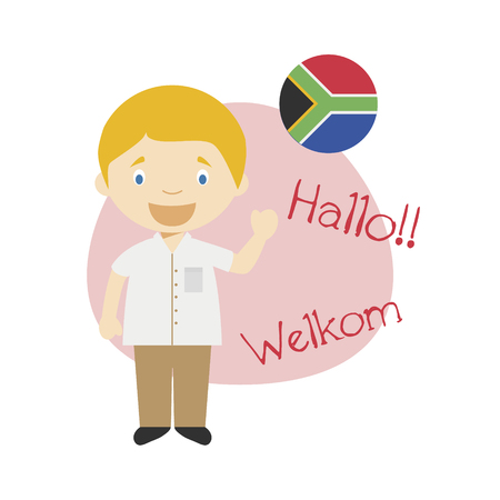Vector illustration of cartoon character saying hello and welcome in Afrikaans Ilustração