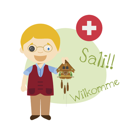 illustration of cartoon character saying hello and welcome in German from Switzerland Ilustração