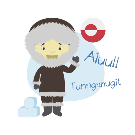 Vector illustration of cartoon character saying hello and welcome in Greenlandic or Inuktitut Vettoriali