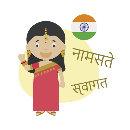 Vector illustration of cartoon character saying hello and welcome in Hindi
