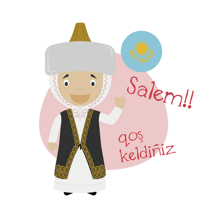 Vector illustration of cartoon character saying hello and welcome in Kazakh 일러스트