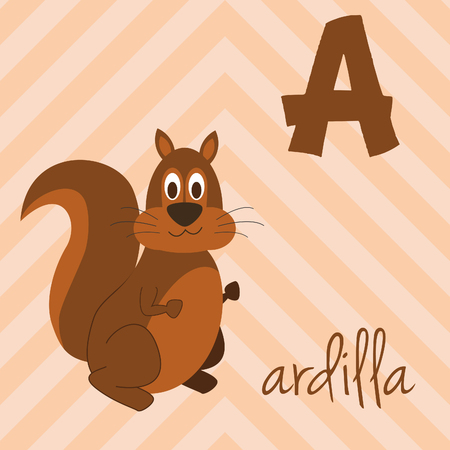 Cute cartoon zoo illustrated alphabet with funny animals. Spanish alphabet: A for Ardilla. Learn to read. Isolated Vector illustration.