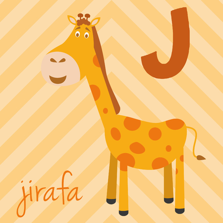 Cute cartoon zoo illustrated alphabet with funny animals. Spanish alphabet: J for Jirafa. Learn to read. Isolated Vector illustration.