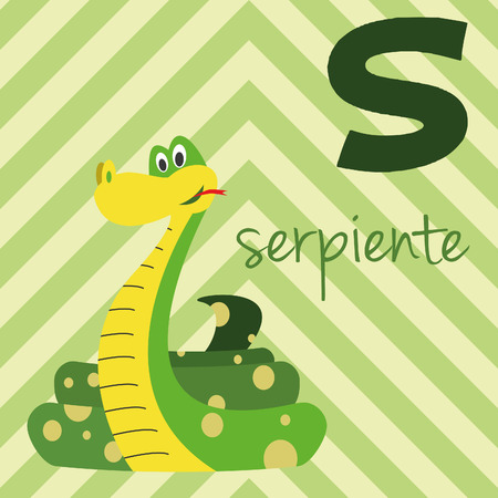 Cute cartoon zoo illustrated alphabet with funny animals. Spanish alphabet: S for Serpiente. Learn to read. Isolated Vector illustration.