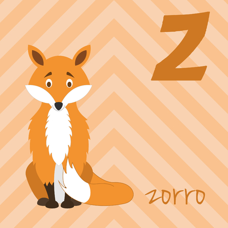 Cute cartoon zoo illustrated alphabet with funny animals. Spanish alphabet: Z for Zorro. Learn to read. Isolated Vector illustration. 矢量图像