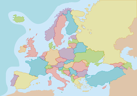 Political map of Europe with colors and borders for each country. Vector illustration. Ilustracja