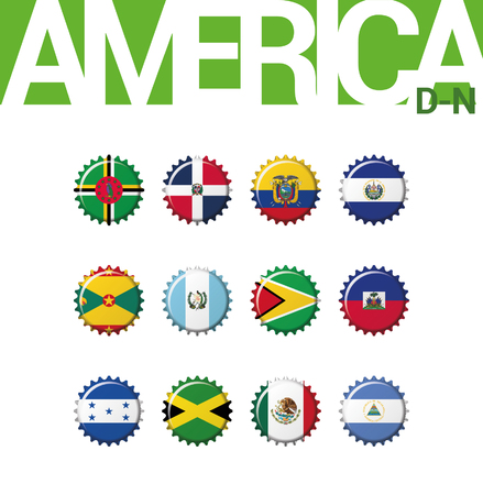 Set of 12 bottlecap flags of America (D-N). Set 2 of 3. Vector Illustration. Dominica, Dominican Rep, Ecuador, El Salvador, Grenada, Guatemala, Guyana, Haiti, Honduras, Jamaica, Mexico, Nicaragua. 矢量图像