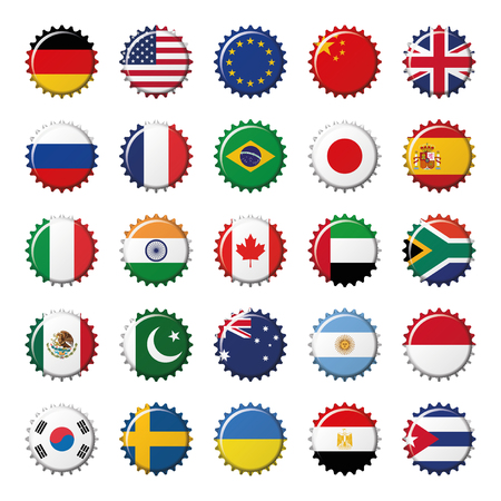 Set of 25 flags world top countries on bottle caps. Vector Illustration