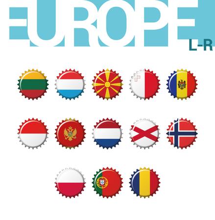 Set of 13 bottlecap flags of Europe (L-R). Set 3 of 4. Vector Illustration. Lithuania, Luxembourg, Macedonia, Malta, Moldova, Monaco, Montenegro, Netherlands, North Ireland, Norway, Poland, Portugal, Romania.