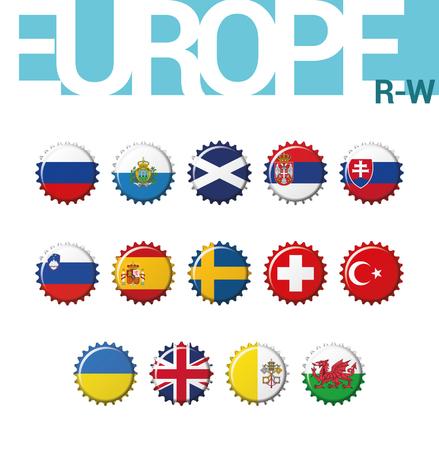 Set of 14 bottlecap flags of Europe (R-W). Set 4 of 4. Vector Illustration. Russia, San Marino, Scotland, Serbia, Slovakia, Slovenia, Spain, Sweden, Switzerland, Turkey, Ukraine, United Kingdom, Vatican City, Wales. Illustration