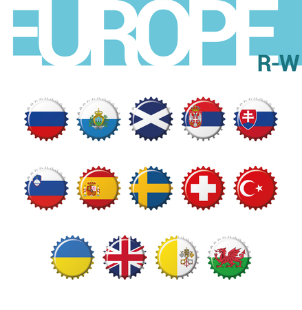 Set of 14 bottlecap flags of Europe (R-W). Set 4 of 4. Vector Illustration. Russia, San Marino, Scotland, Serbia, Slovakia, Slovenia, Spain, Sweden, Switzerland, Turkey, Ukraine, United Kingdom, Vatican City, Wales. Иллюстрация