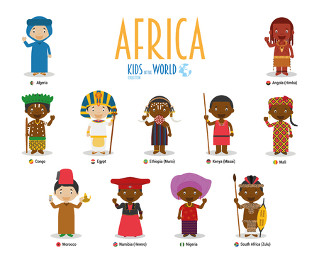 Kids and nationalities of the world vector: Africa. Set of 11 characters dressed in different national costumes.