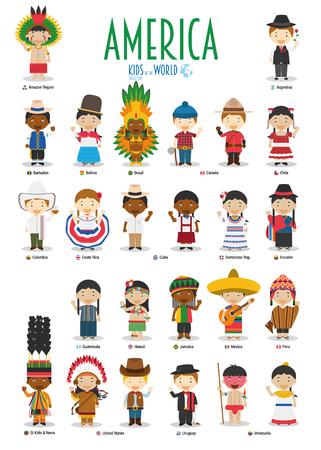 Kinder und Nationalitäten der Welt Vektor: Amerika. Set mit 25 Charakteren in verschiedenen Trachten.